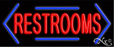 """BRAND NEW """"RESTROOMS"""" 32x13 W/BORDERED ARROWS NEON SIGN w/CUSTOM OPTIONS 10883"""