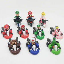 New 10PCS Super Mario Brother Kart Pull Back Car Bike Figure Toys Gift