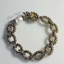 Barbara Bixby White Pearl Link Toggle Sterling Silver Gold Bracelet 7""