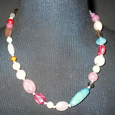 Pretty Beachy Looking Fashion Necklace Pastel Colors Ladies Womens