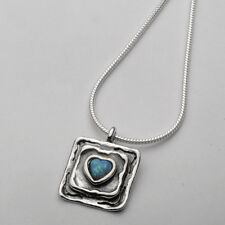 Sterling Silver Double Frame Heart Shape Simulated Opal Cabs Necklace 925