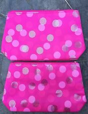 Lot of (2) Clinique Pink Satin Silver Circle Dots Zippered Makeup Bags/Cases