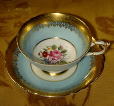 PARAGON CUP & SAUCER FLORAL CENTER w/ROSE, TURQUOISE BAND with HEAVY GOLD BORDER