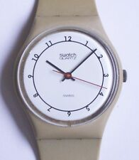 Swatch Watch-1984-Beige Arabic-GT102-Nice Condition-Polished Crystal-New Battery