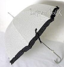 Goth : Parapluie Cloche & Canne BLANC à Pois Noir Noeud Manga Lolita Gothique