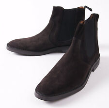 NWT $725 ERMENEGILDO ZEGNA Chocolate Brown Suede Ankle Boots US 10.5 D Shoes