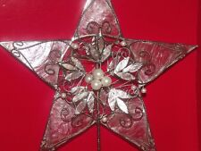 "CHRISTMAS CAPIZ SHELL ""GLASS OYSTER"" SILVER LEAF PEARL BEAD STAR TREE TOPPER TOP"