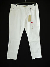 "Levi's 505 Straight Leg Jeans White 16M 33"" Inseam Embroidered Pockets New"