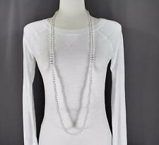 "Clear super extra long bead 44"" necklace beaded wrap double look"