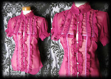 Gothic Magenta Sheer Frilled VICTORIAN GOVERNESS High Neck Blouse 8 10 Steampunk