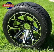"GOLF CART 12"" FANG ALUMINUM WHEELS and 215/40-12 DOT LOW PROFILE TIRES (4)"