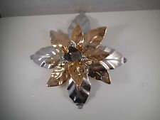 Lovely Dept 56 Christmas Gold & Silver Poinsettia Candle Holder Metal