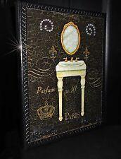 FRENCH COUNTRY SHABBY CHIC DECORATIVE SCRIPT PARIS BATH  PLAQUE FLEUR de LIS