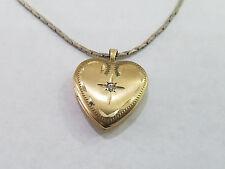 Vintage 14k Gold Filled Diamond Heart Locket Necklace - 4747