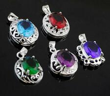 Pretty 5pcs NF 925 Silver Plated Mixed Cubic Zirconia Necklace Pendant