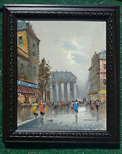 "PARIS FRANCE Artist MARCHAND Original Vintage Mid-Century Oil Painting 21""X25"""