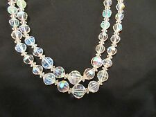Aurora Borealis 2 Strand Graduated Beads Necklace Faceted Crystal Glass vintage