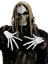 DELUXE ZOMBIE MASK WITH HAIR & GLOVES SCARY HALLOWEEN FANCY UNISEX UNDEAD EVIL