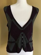 Talbots Medium 100% Merino Wool Argyle Sweater Vest Purple Sleeveless