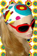 A103✪ 60er 70er Jahre Kult Kopftuch Haarband Hippie Retro Panton weiss / bunt