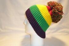 RED YELLOW GREEN PURPLE STRIPED BOBBLE HAT BEANIE FLEECE LINED MENS WOMENS LGBT