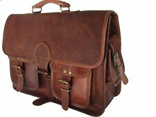 "15"" Real Brown Leather Briefcase Macbook Bag Laptop Messenger Bag Attache Satche"