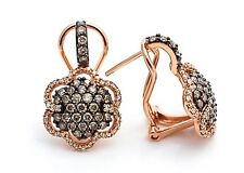 LeVian Earrings 1.60 ct Chocolate and White Diamond Flower 14k Rose Gold NWT