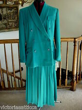 DONNA TORAN SUITS Teal/Turquoise Blue Lined Fitted Jacket & Skirt / Suit-16 -NWT