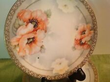 Antique E. Schlegelmich Prussia 5 Dessert Plates Hd Painted Poppies Gold/Pink
