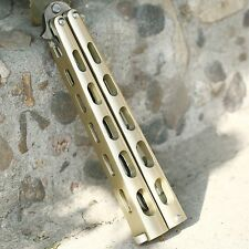 Gold Practice Steel Metal BALISONG Butterfly Trainer Training Tool Dull Knife