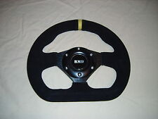 "Steering Wheel Suede 255mm 10"" Inch Flat D shape IVA Kitcar Race Rally Car New"