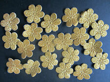 20 x Gold Glittered Fabric Flower Embellishments For Cardmaking & Scrapbooking