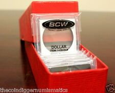 25 Assorted 2x2 Plastic Snaplock BCW Coin Holder & Red Quality Storage Box NEW
