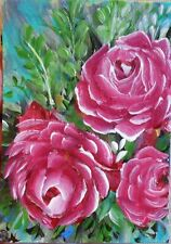 ACEO ORIGINAL PAINTING Dixie Art Card MODERN FLORAL IMPRESSIONISM COLORFRESH ABS