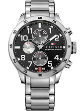 *BRAND NEW* Tommy Hilfiger Men's Black Chronograph Silver-Tone Watch 1791141