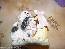 Vintage Puppy Spaniel in Basket Planter Vase