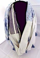 Mixed pattern infinity scarf denim blue gray white with stripes dots tassels DY