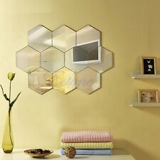 New Hexagonal MIrror Surface Art Acrylic Wall Sticker Decal DIY For Decor Home