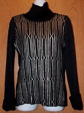 Womens Silver Accent Black Spanner Long Sleeve Turtleneck Shirt Size Small exc