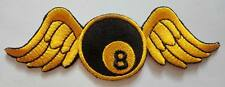 #3 8 EIGHT BALL BILLIARDS POOL WING FLY Embroidered Iron on Patch Free Shipping