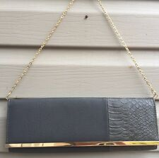 New Big Buddha Gray Alligator Gold Clutch Shoulder Purse