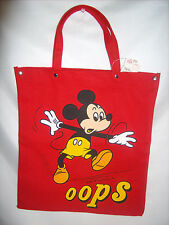 Vintage Disney Mickey Mouse Red Canvas OOPS Tote Bag ©Walt Disney Production NWT