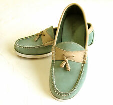 L.L BEAN Deck Boat Shoes Seafoam Turquoise Suede Leather Womens 6M