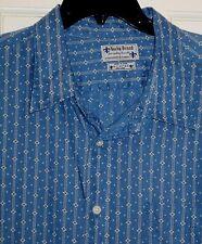 MENS $99 LUCKY BRAND BLUE STRIPE DIAMOND LINEN LONG SLEEVE BUTTON DOWN SHIRT~XL