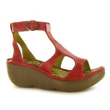 FLY LONDON BECCA RED LEATHER PLATFORM WEDGE T-BAR SANDALS UK 7 EUR 40 RRP £85
