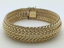 "New Italian Solid 14K Yellow Gold 7.5"" Polished Wheat Chain Bracelet 16 mm 24.6g"