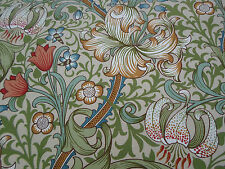 William Morris Curtain Fabric 'Golden Lily' 3.65 METRES (365cm) Green/Gold Linen