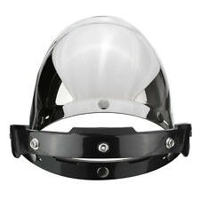 Silver Motorcycle Flip UP Down Helmet Bubble Wind Face Mirror Visor Lens+Base