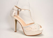 Wmone's Sexy Rhinestone Lace Mesh Peep Toe Stiletto & Wedge Heel Bridal Shoes