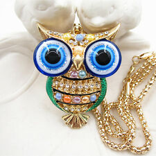 Gold Plated Crystal Bead Evil Eye Green Owl Charm Pendant Necklace Sweater Chain